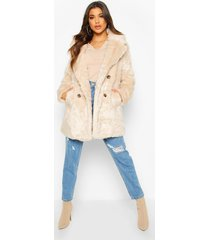 double breasted faux fur coat, oatmeal