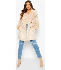 double breasted faux fur coat, oatmeal