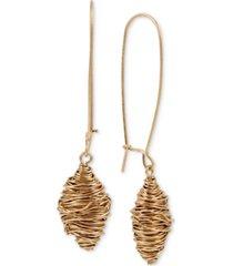 robert lee morris soho gold-tone sculptural wire ball linear drop earrings