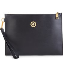 versace men's leather zip-top pouch - black