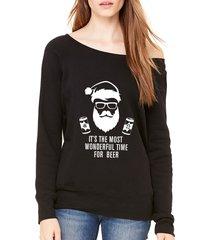 it's the most wonderful time for beer santa christmas off shoulder sweatshirt