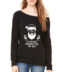 it's the most wonderful time for beer santa christmas off shoulder sweatshirt