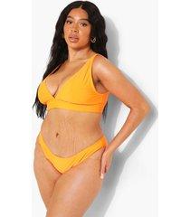 plus gerecycled hoog uitgesneden bikini broekje, orange