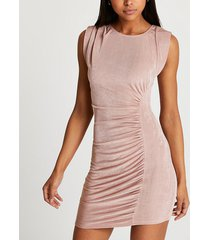 river island womens pink ruched front sleeveless mini dress