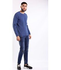 suéter azul tejido acanalado en hombros para hombre