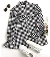 camicetta casual da donna a maniche lunghe con bottoni arricciati con stampa scozzese