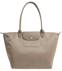 longchamp large le pliage nylon tote - brown