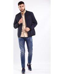 chaqueta impermeable azul para hombre cremallera y bolsillo laterales