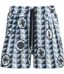 dolce & gabbana majolica print cotton bermuda shorts