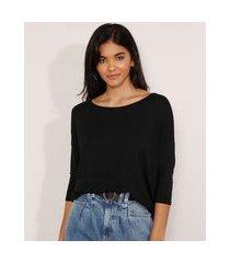 blusa ampla básica com recorte manga 7/8 decote redondo preta