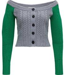 alexander mcqueen cropped cardigan in bicolor wool blend