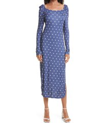 ted baker london ditsy spot long sleeve jersey midi dress, size 5 in dk-blue at nordstrom