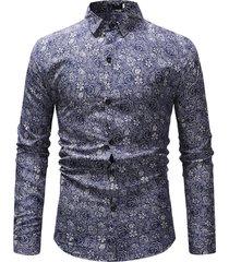girocollo manica lunga business casual stampato camicia per uomo