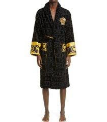 versace logomania bath robe, size x-large - black