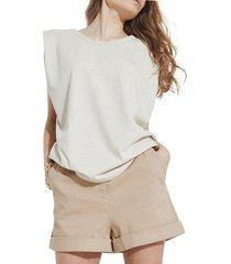 bardot shoulder pad muscle tee, size x-small in beige at nordstrom