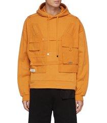 cargo vest patchwork cotton drawstring hoodie