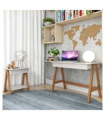 escrivaninha cavalete e mesa cavalete amêndoa off white casah