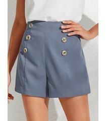 shorts de talle alto con diseño de botones azules