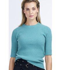 geribde cashmere trui met korte mouw