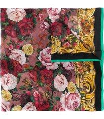 dolce & gabbana rose print scarf - pink