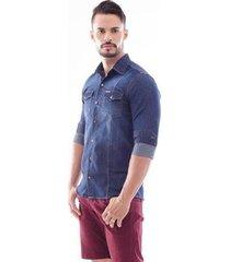 camisa jeans amil slim manga longa masculina