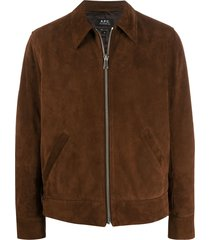 a.p.c. pointed collar suede jacket - brown