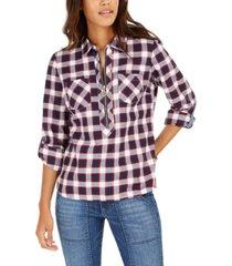 tommy hilfiger cotton plaid zip-up popover shirt