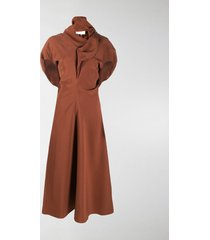 colville ruched flared midi dress