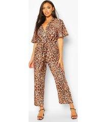 animal print tie detail wide leg jumpsuit, brown