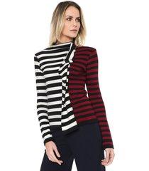 suéter loft 747 tricot dianna off-white/vermelho