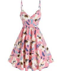 floral print surplice mini a line dress