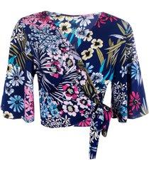 blusa kimono linda d floral marinho