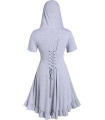 plus size hooded solid tunic coat