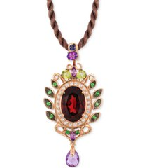 le vian crazy collection garnet (5-1/3 ct. t.w) and multi-stone (1-3/4) pendant in 14k rose gold