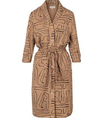 doorknoop jurk met safariprint kaki