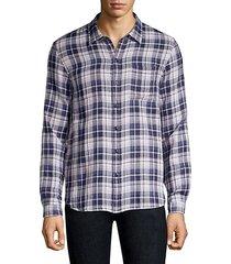 check plaid reversible button-down shirt