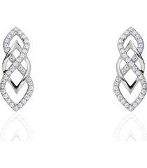 orecchini pendenti in oro bianco con zirconi fantasia per donna
