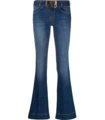 pinko flare-fit belted jeans - blue