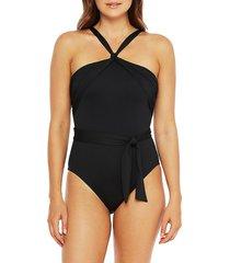la blanca women's island goddess tie-waist one-piece swimsuit - black - size 6