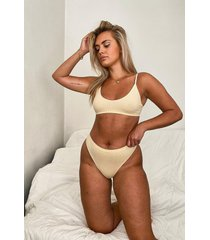 ribbed seamless triangle bralette, nude