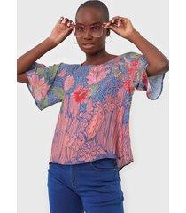 camiseta oh, boy! serpente azul/rosa - azul - feminino - viscose - dafiti