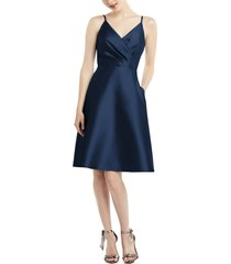 women's alfred sung fit & flare satin twill cocktail dress, size 6 - blue