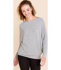 women's allie long sleeve dolman top gray in gray by francesca's - size: l