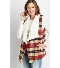 maurices womens plaid sherpa lined open front vest beige