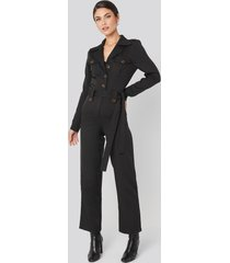 na-kd trend front pocket tied waist jumpsuit - black