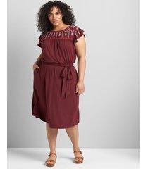 lane bryant women's flutter-sleeve embroidered fit & flare dress 14/16 zinfandel