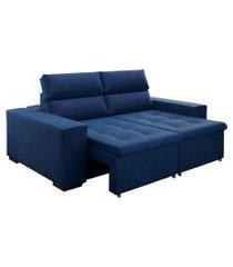 sofá 3 lugares retrátil e reclinável gramado veludo azul marinho 220 cm