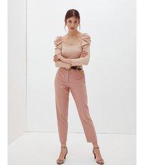 motivi pantaloni a vita alta donna rosa