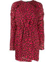 msgm animal print mini dress - pink