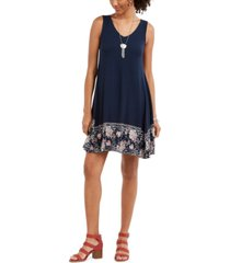 style & co printed-hem sleeveless swing dress, created for macy's